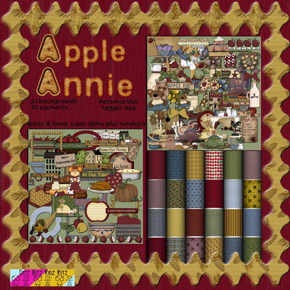 apple annie digital scrapbook kit